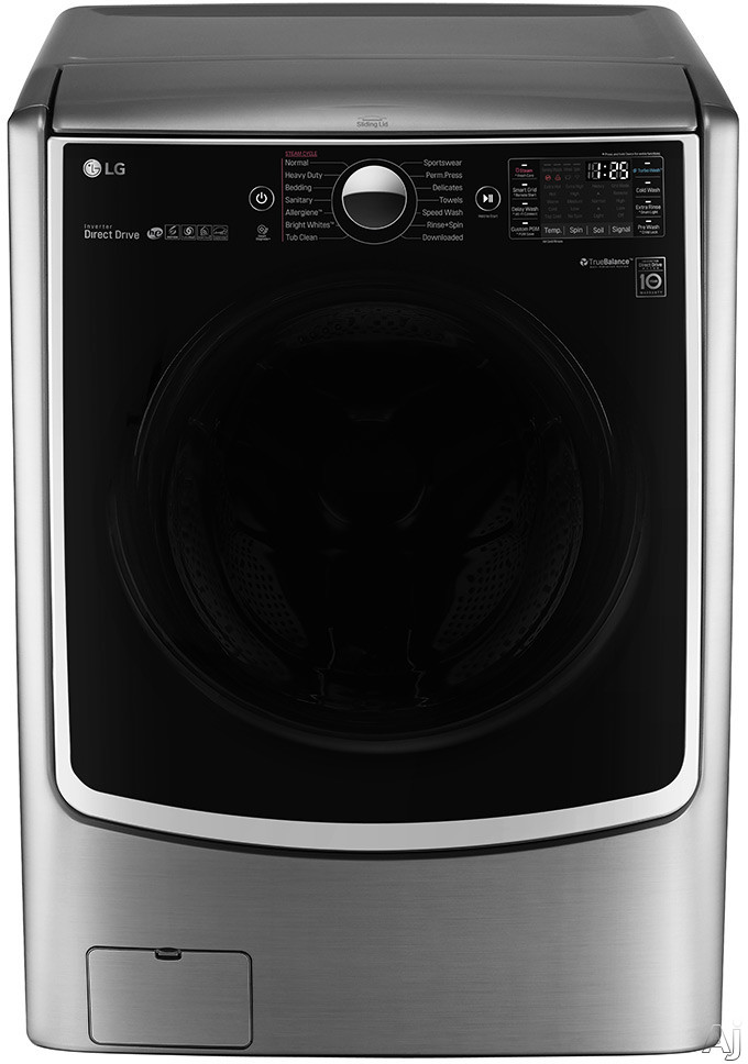 LG TurboWash Series WM5000HVA 27 Inch 4.5 cu. ft. Front Load Washer with 14 Wash Programs, 1,300 RPM, Steam, TurboWash, Allergiene Cycle, LG Twin Wash Compatibility, SenseClean, LoDecibel Quiet Operation, NeveRust Stainless Steel Drum and ENERGY STAR Cer