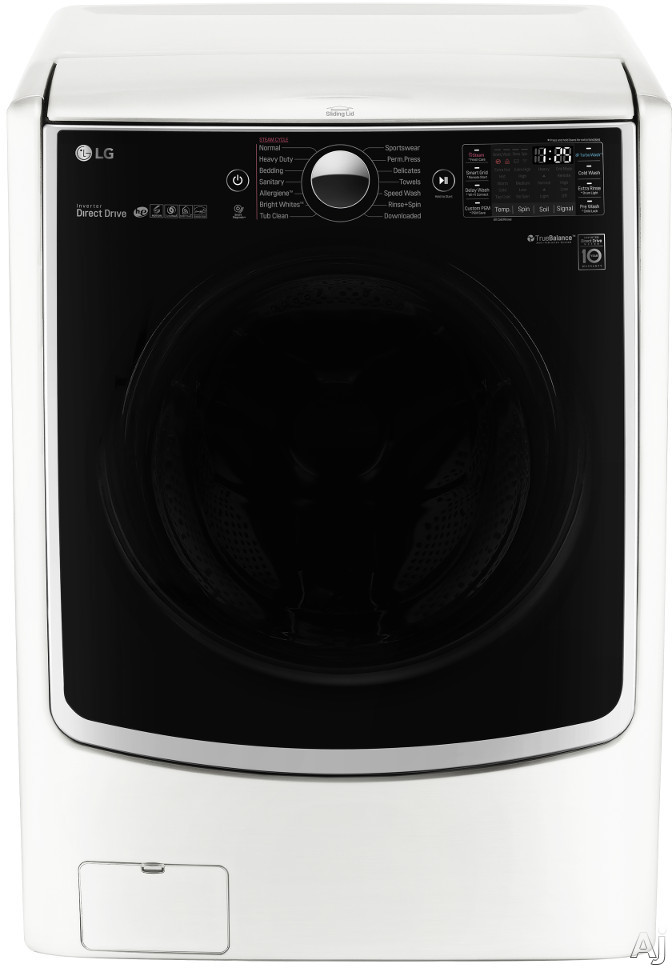 LG TurboWash Series WM5000HWA 27 Inch 4.5 cu. ft. Front Load Washer with 14 Wash Programs, 1,300 RPM, Steam, TurboWash, Allergiene Cycle, LG Twin Wash Compatibility, SenseClean, LoDecibel Quiet Operation, NeveRust Stainless Steel Drum and ENERGY STAR Cer