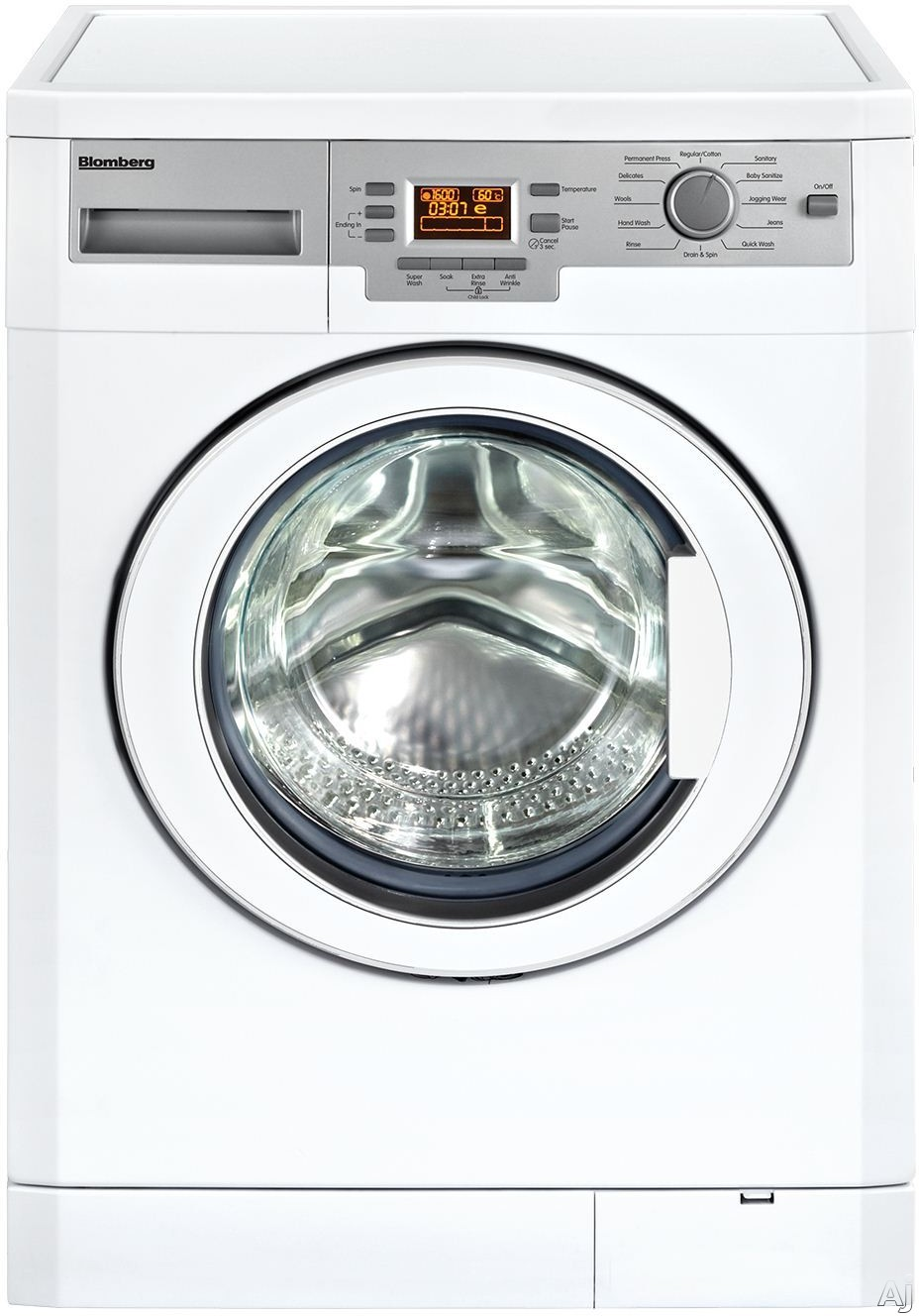 Blomberg WM77120 24 Inch Front-Load Washer with Internal Heater, Anti-Creasing, BabyProtect Program, Bleach Dispenser, Automatic Water Adjustment, 12 Wash Programs, LCD Display, ENERGY STAR and 1.95 cu. ft. Capacity WM77120
