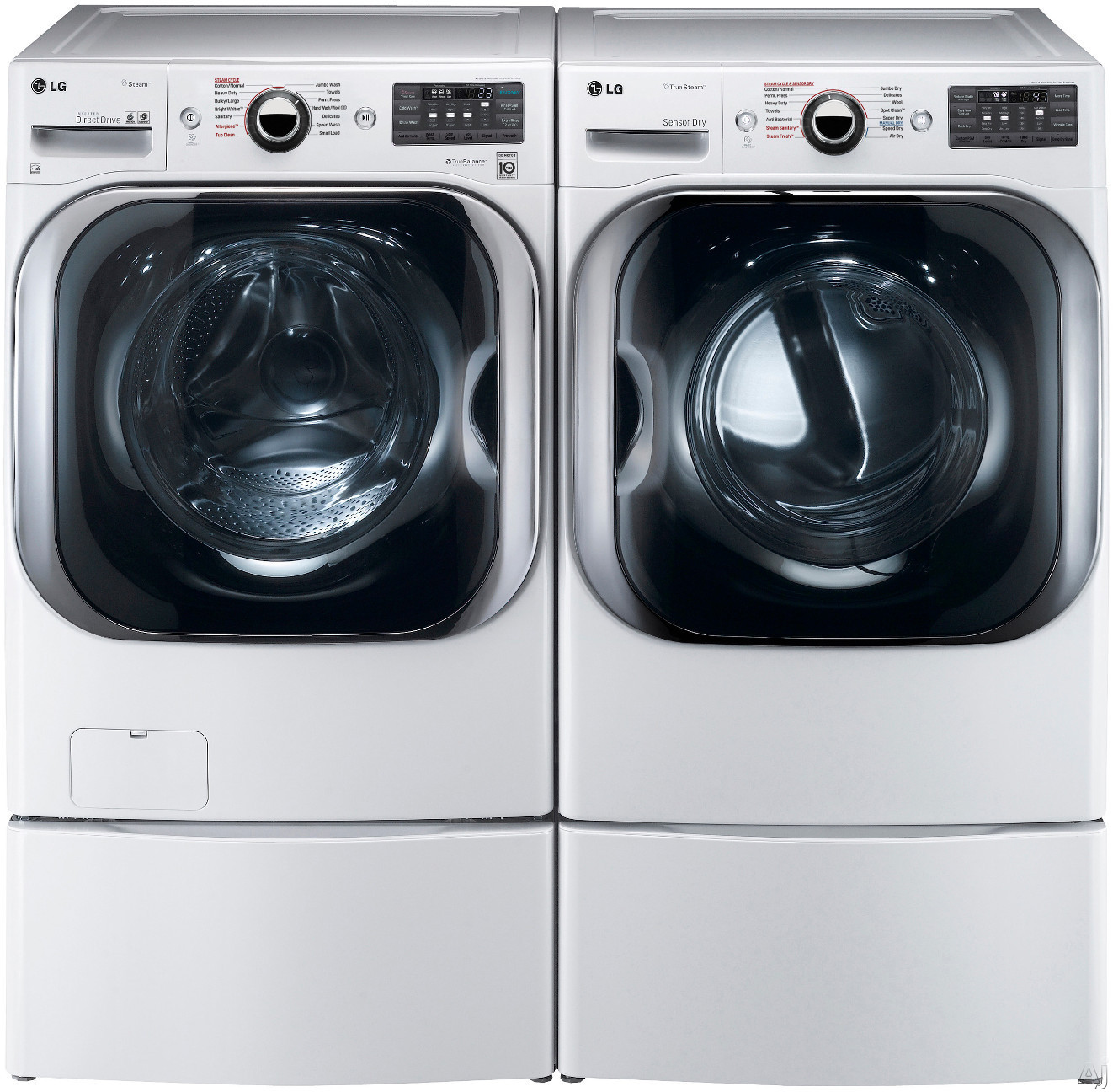 LG LGWADREW8105 Side-by-Side on Pedestals Washer & Dryer Set with Front Load Washer and Gas Dryer in White