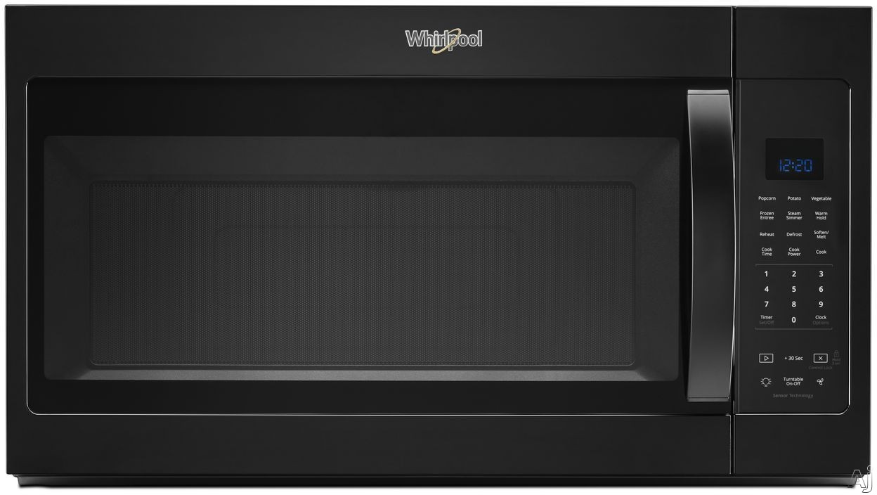 Whirlpool WMH32519HB 1.9 Over-the-Range Microwave with Sensor Cooking, Steam Cooking, CleanRelease® Interior, Microwave Presets, Add 30 Seconds, Cooking Rack and 300 CFM: Black