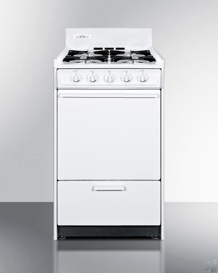 Summit WNM1107 20 Inch Freestanding Gas Range with 4 Open Burners, 2.5 cu. ft. Oven Capacity, Manual Clean, Electronic Ignition and Lower Broiler Drawer: White and Natural Gas