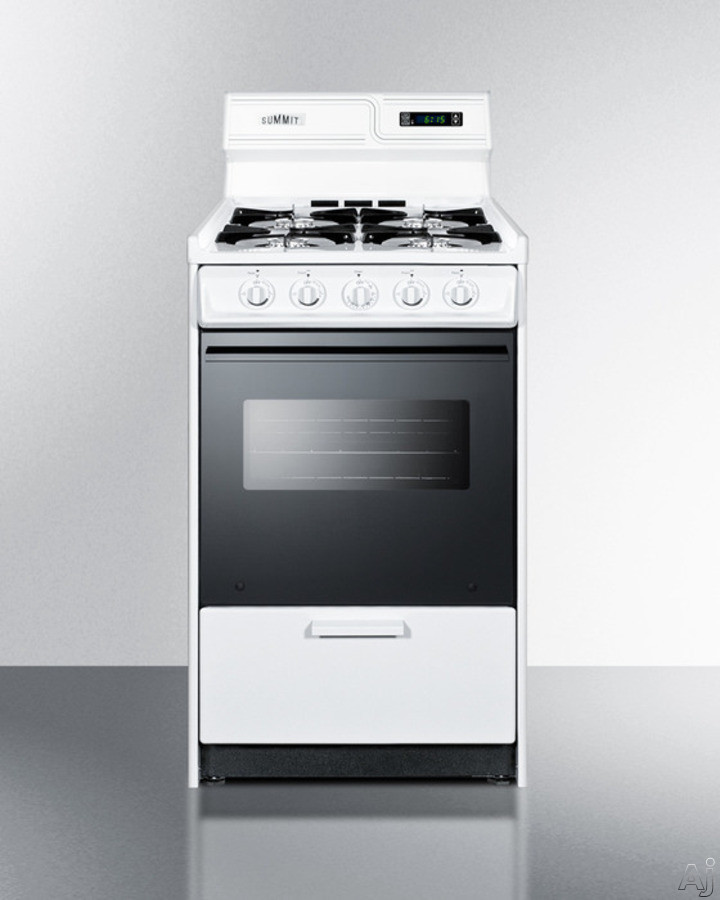 Summit WNM1307DK 20 Inch Freestanding Gas Range with Manual Clean, Black Glass See-Thru Door, Electronic Ignition and Clock w/ Timer: White and Natural Gas
