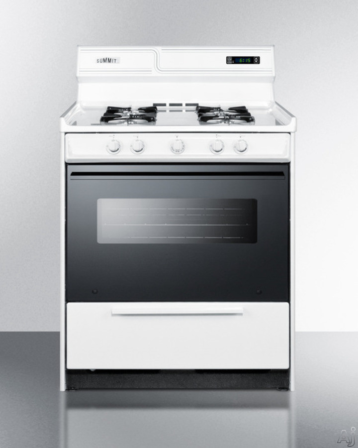 Summit WNM2307DK 30 Inch Freestanding Gas Range with Manual Clean, Black Glass See-Thru Door, Electronic Ignition and Clock w/ Timer: White and Natural Gas