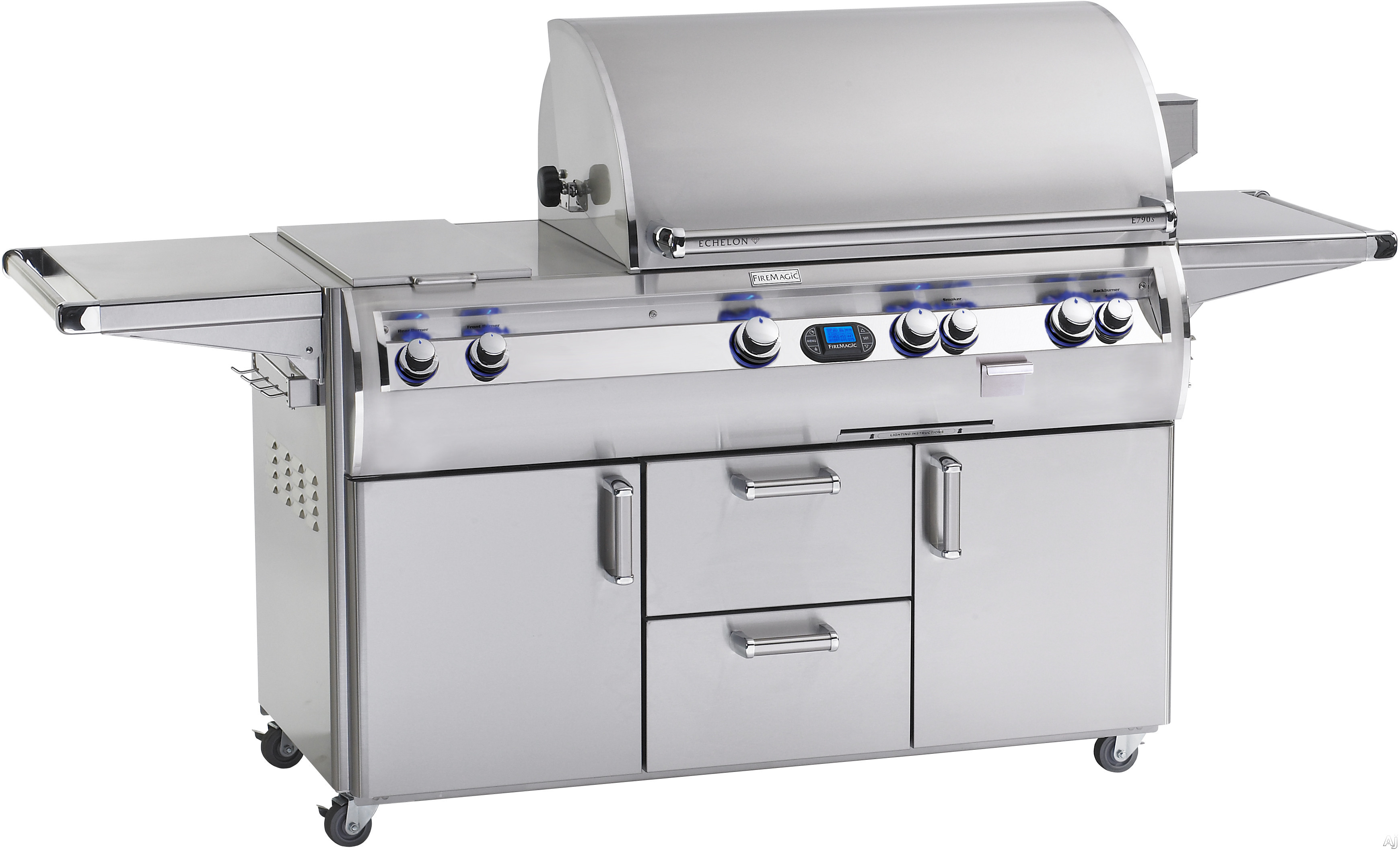 Fire Magic Echelon Collection E790S4EAN71 92 Inch Freestanding Gas Grill with Rotisserie Kit, Analog Temperature, Gague Smoker, 792 sq. in. Cooking Surface, 99,000 BTU Stainless Steel Primary Burners, 13,000 Secondary Burners, 15,000 BTU Single Side Burn