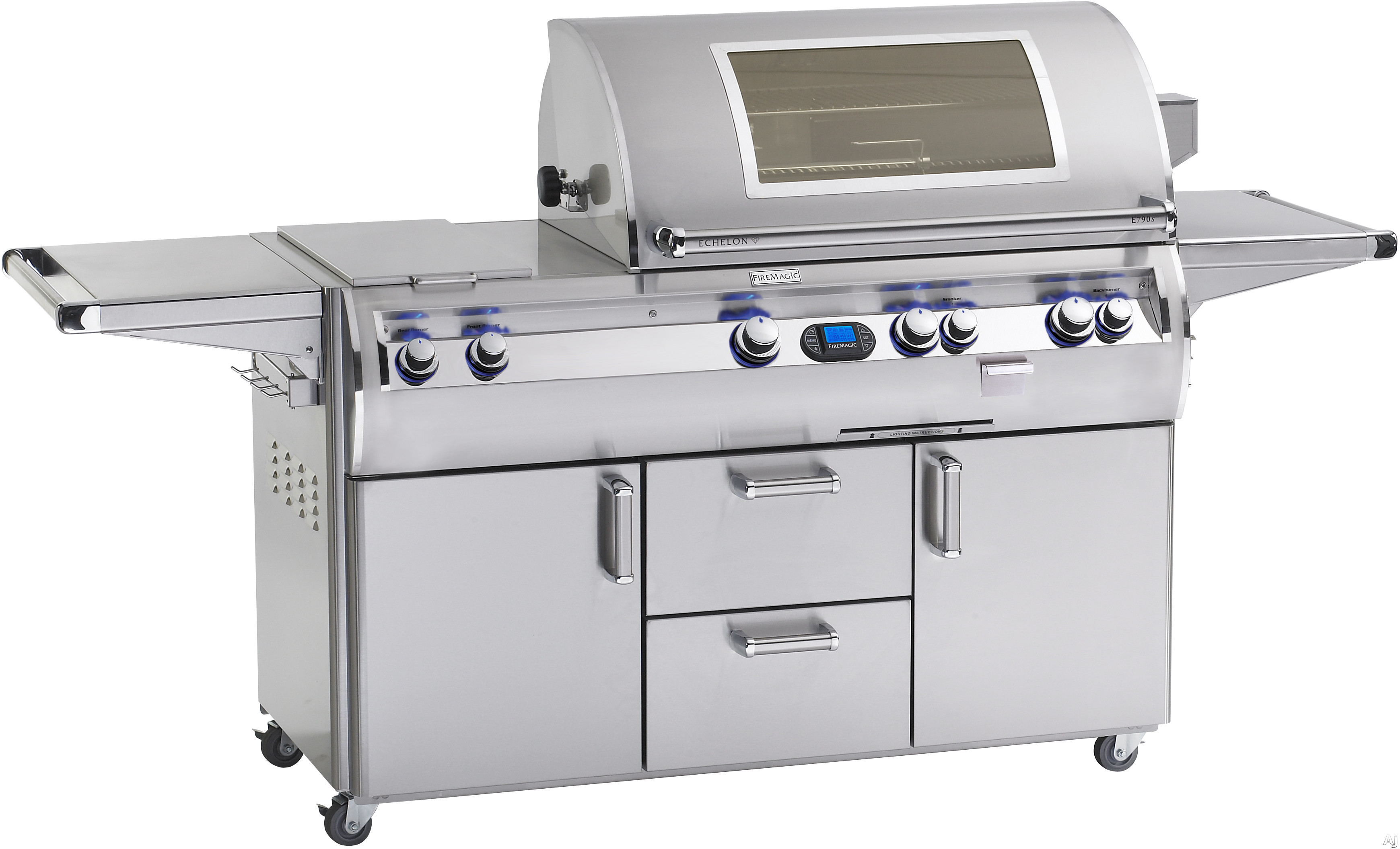 Fire Magic Echelon Collection E790S4 92 Inch Freestanding Gas Grill with Rotisserie Kit, Analog Temperature, Gague Smoker, 792 sq. in. Cooking Surface, 99,000 BTU Stainless Steel Primary Burners, 13,000 Secondary Burners, 15,000 BTU Single Side Burner an