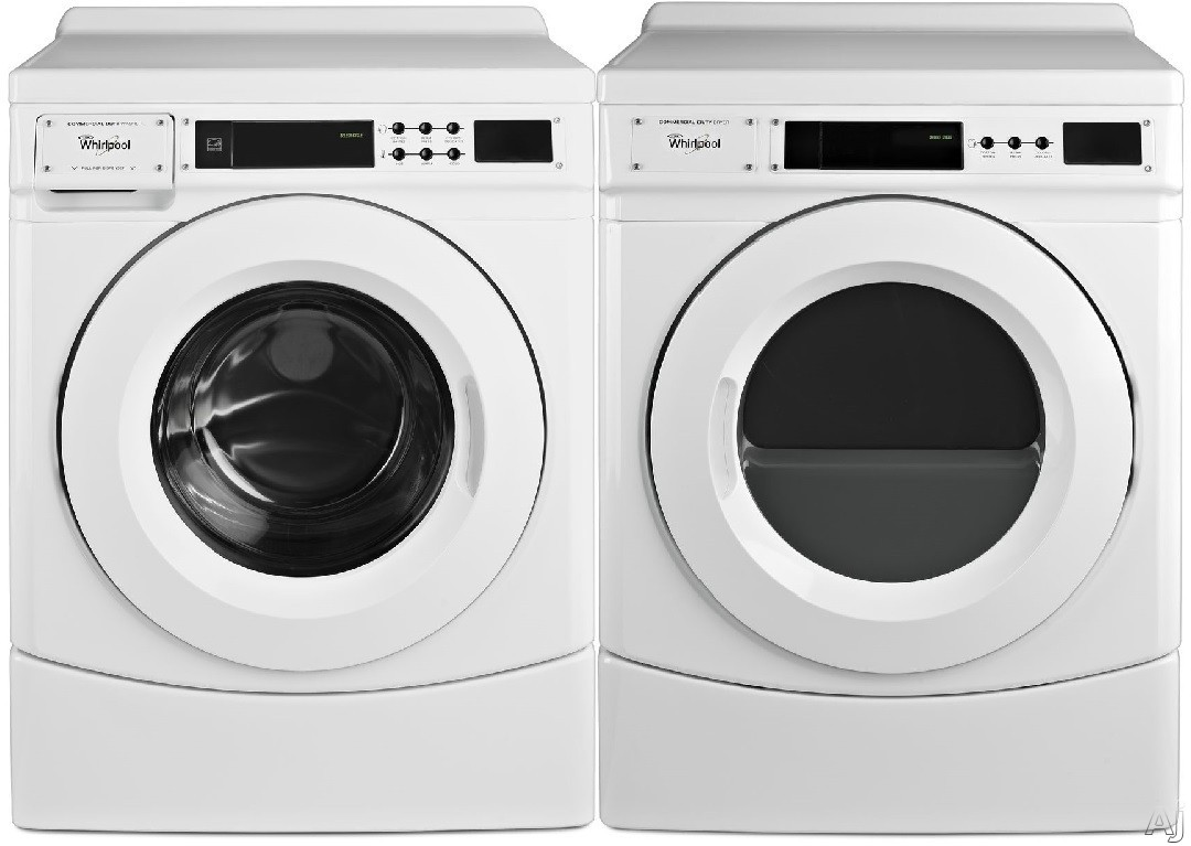 Picture of Whirlpool WPWADRGW9160 Side-by-Side Washer  Dryer Set with Front Load Washer and Gas Dryer in White