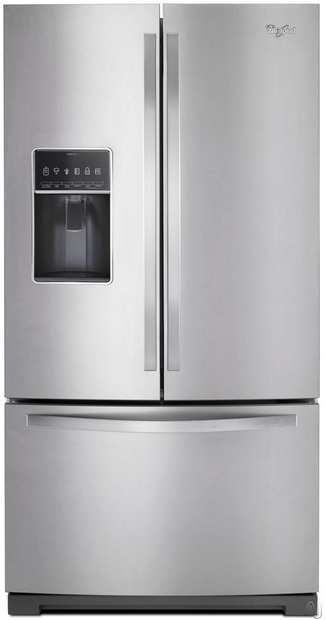 Whirlpool WRF767SDEM 36 Inch French Door Refrigerator with 27 cu. ft. Capacity, Adjustable Glass Shelves, Dual Cooling System, In-Door-Ice Storage, Triple Crisper Drawers, Adjustable Gallon Door Bins, 2-Tier Freezer Storage and Second Ice Maker