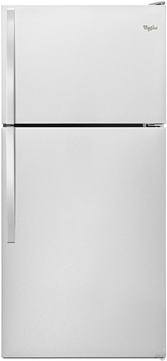 Picture of Whirlpool WRT138FZDM 30 Inch Top-Freezer Refrigerator with 182 cu ft Capacity 2 Adjustable Wire Shelves Gallon Door Storage 2 Crisper Drawers 1 Flexi-Slide Drawer and Optional Ice Maker Kit Stainless Steel