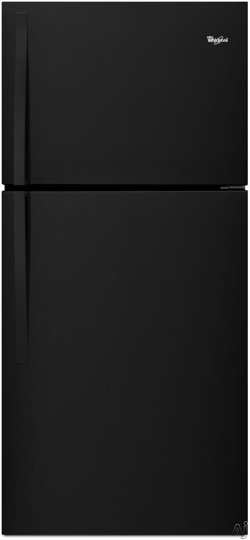 Whirlpool WRT549SZDB 30 Inch Top-Freezer Refrigerator with 19.2 cu. ft. Capacity, 2 Adjustable Frameless Glass Shelves, Gallon Door Storage, 2 Crisper Drawers, 1 Flexi-Slide Drawer, LED Interior Lighting, ENERGY STAR and Optional Ice Maker Kit: Black