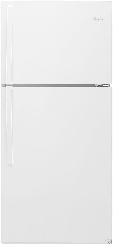 Whirlpool WRT549SZDW 30 Inch Top-Freezer Refrigerator with 19.2 cu. ft. Capacity, 2 Adjustable Frameless Glass Shelves, Gallon Door Storage, 2 Crisper Drawers, 1 Flexi-Slide Drawer, LED Interior Lighting, ENERGY STAR and Optional Ice Maker Kit: White