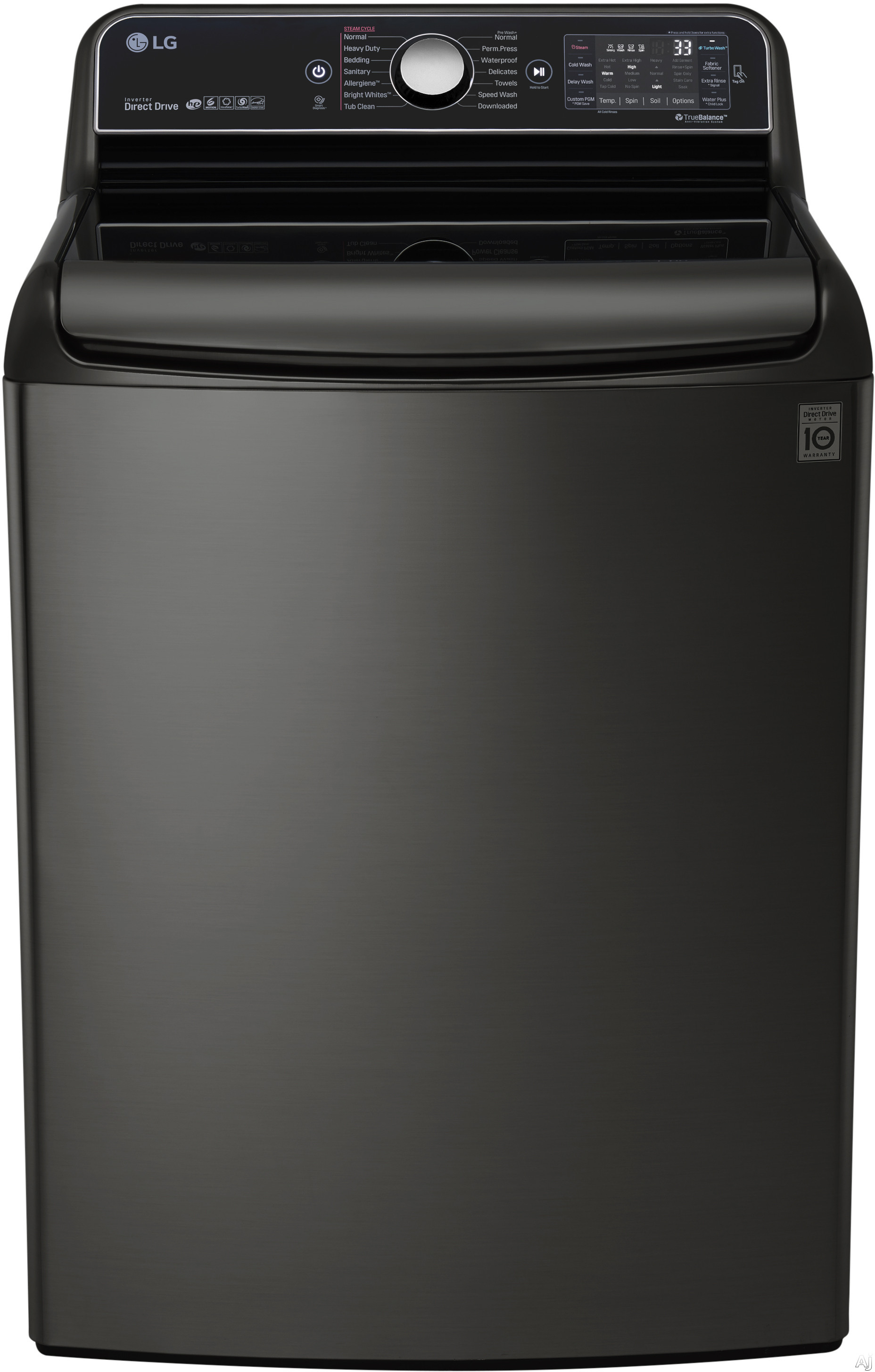 LG TurboWash Series WT7700HKA 29 Inch 5.7 cu. ft. Top Load Washer with 14 Wash Cycles, 1,050 RPM, Steam, TurboWash Technology, StainCare, Speed Wash, Allergiene Cycle, Sanitary Cycle, Smart Diagnosis and ENERGY STAR Qualification: Black Stainless Steel