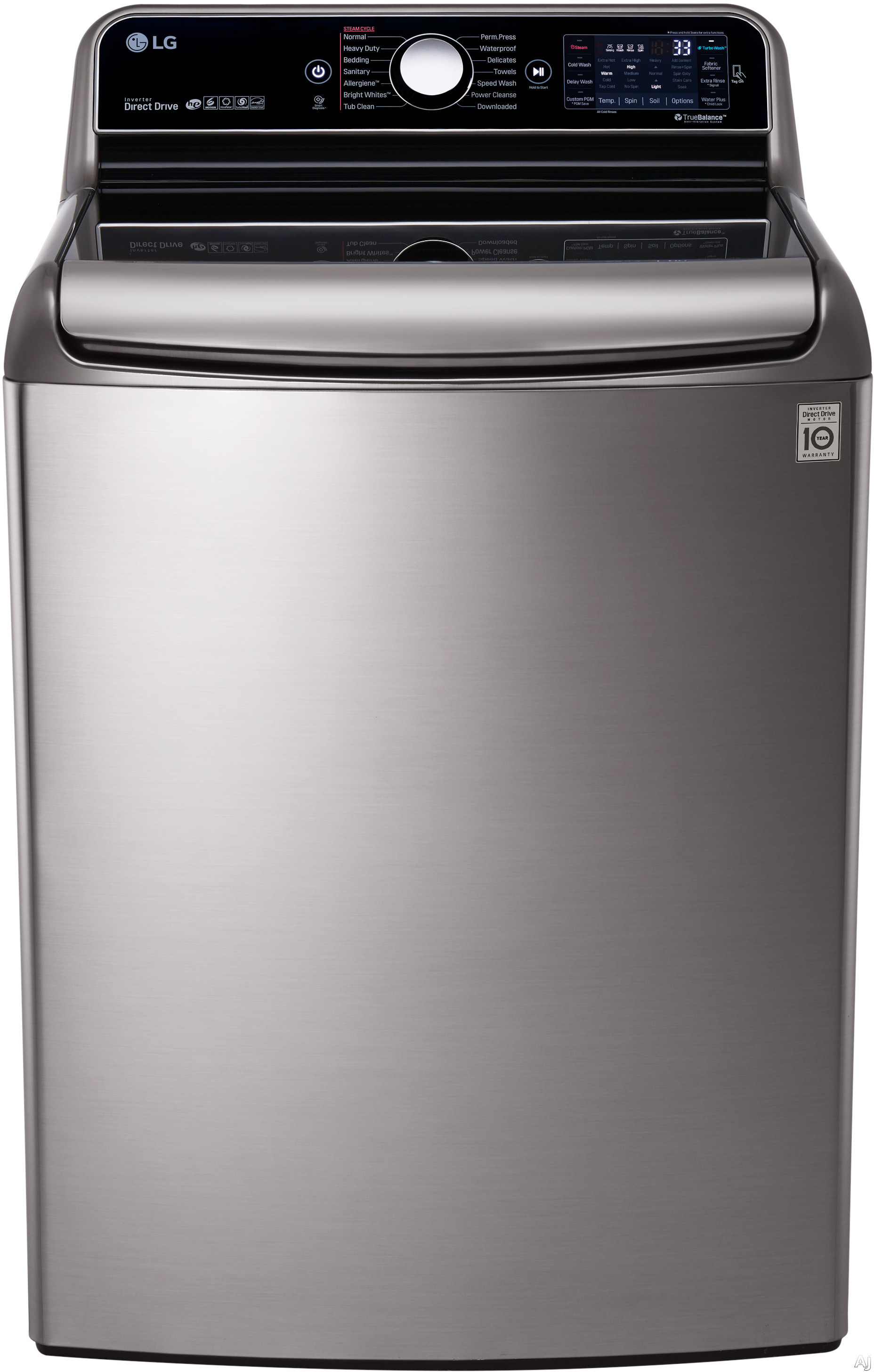 LG TurboWash Series WT7700H 29 Inch 5.7 cu. ft. Top Load Washer with 14 Wash Cycles, 1,050 RPM, Steam, TurboWash Technology, StainCare, Speed Wash, Allergiene Cycle, Sanitary Cycle, Smart Diagnosis and ENERGY STAR Qualification