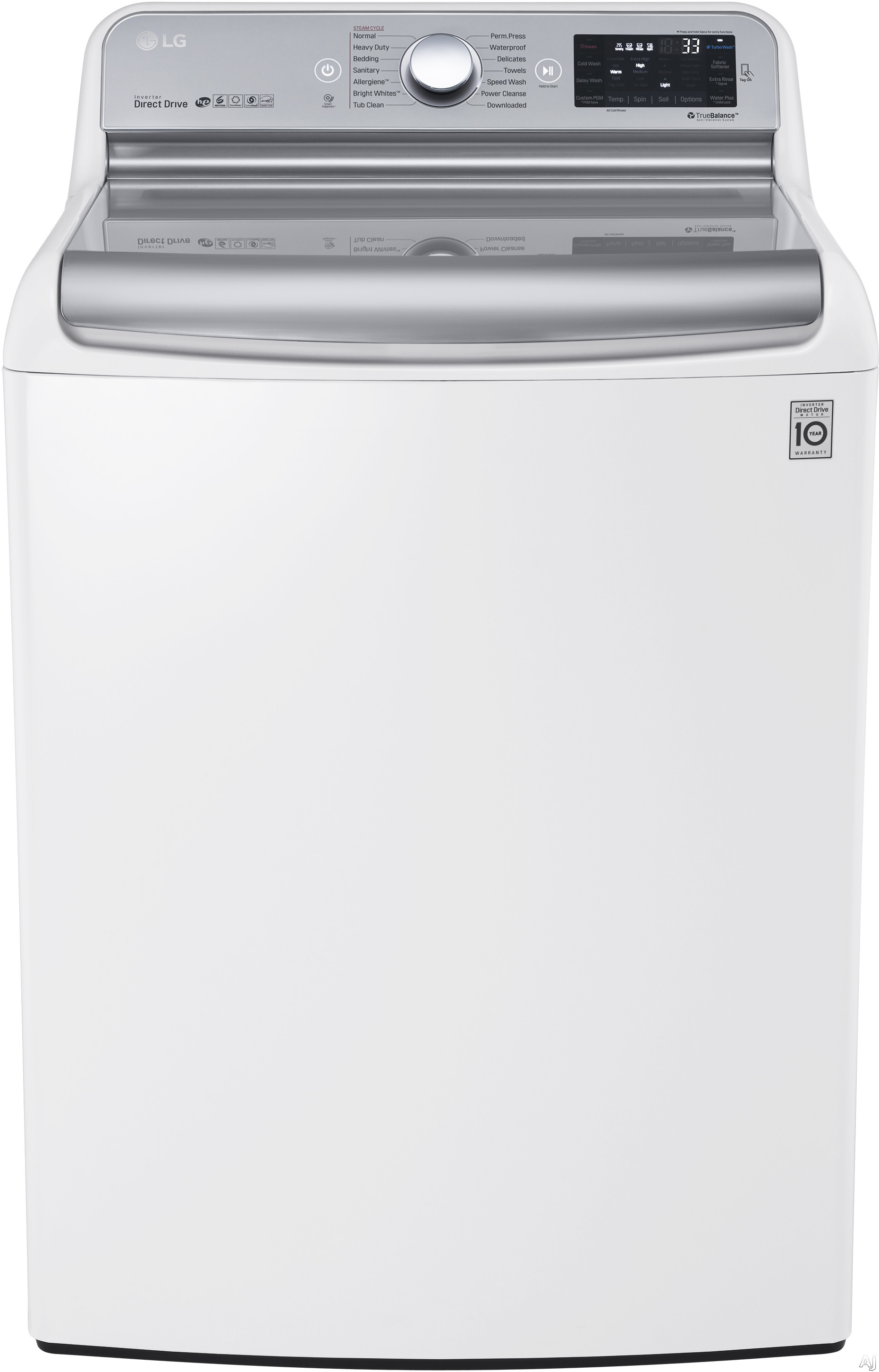 LG TurboWash Series WT7700HWA 29 Inch 5.7 cu. ft. Top Load Washer with 14 Wash Cycles, 1,050 RPM, Steam, TurboWash Technology, StainCare, Speed Wash, Allergiene Cycle, Sanitary Cycle, Smart Diagnosis and ENERGY STAR Qualification: White