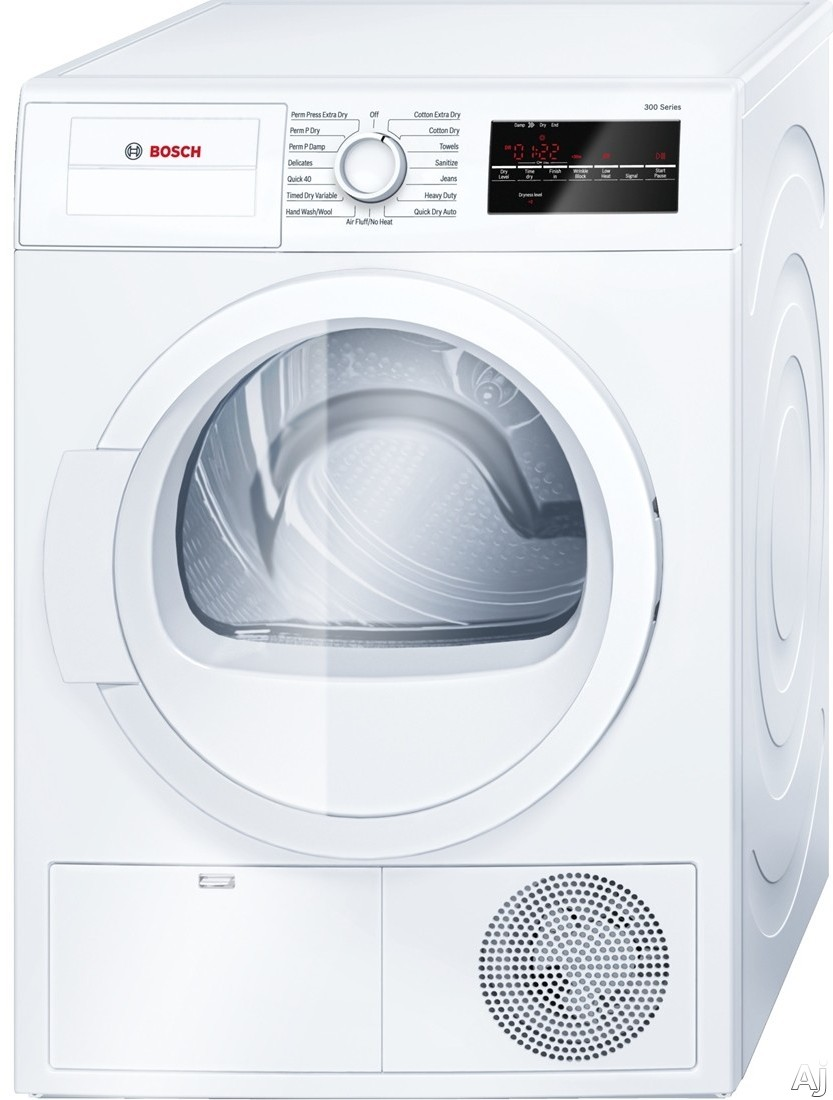 Bosch 300 Series WTG86400UC 24 Inch Electric Dryer with Automatic Dry Programs, Quick Dry, AntiVibration, Condensation Drying, 4.0 cu. ft. Capacity, 15 Total Cycles, Sanitary Cycle, Moisture Sensors and ADA Compliant
