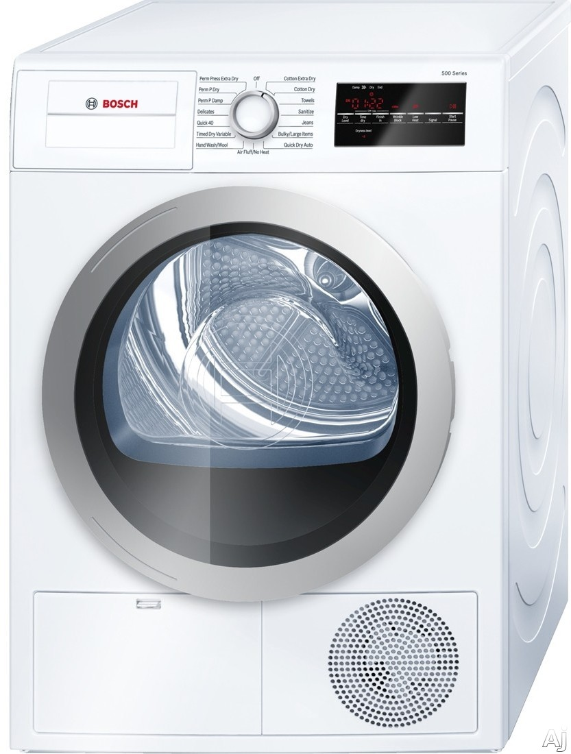 Bosch 500 Series WTG86401UC 24 Inch Ventless Electric Dryer with Double Lint Filter, Quick Dry, AntiVibration Design, Condensation Drying, Moisture Sensors, 15 Total Cycles, Sanitary Cycle, ADA Compliant, ENERGY STAR and 4.0 cu. ft. Capacity