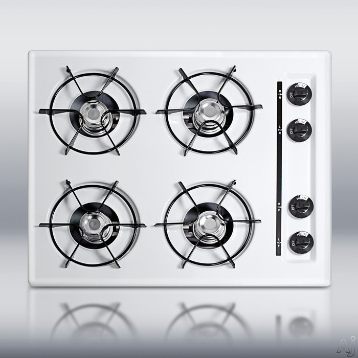 Summit TL03 24 Inch Gas Cooktop with 4 Open Burners, Pilot Light Ignition and Porcelain Enameled Steel Grates