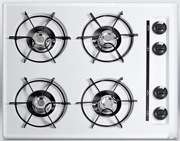 Summit WTL03P 24 Inch Gas Cooktop with 4 Open Burners, 9,000 BTU Burners, Porcelain Enameled Steel Grates, Recessed Top and Battery Start Ignition: White