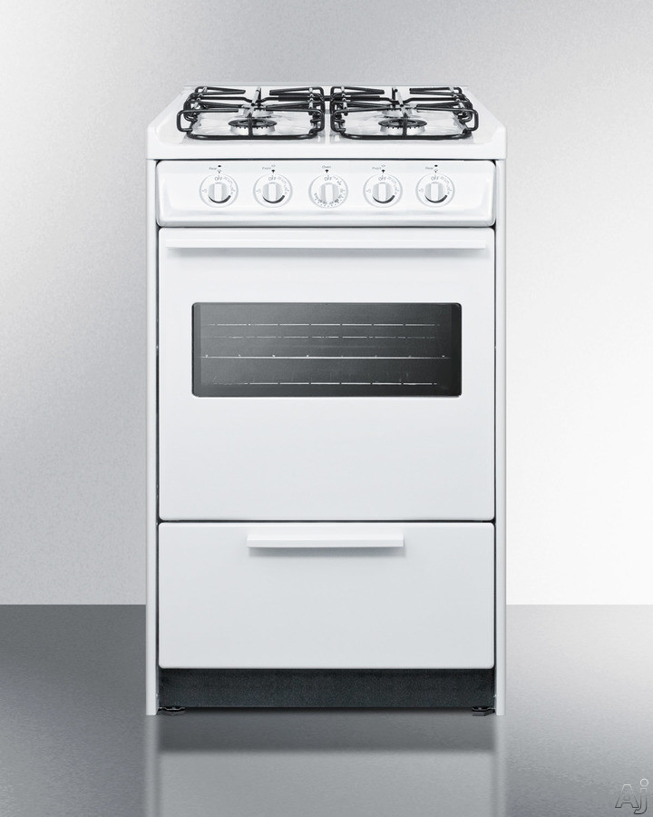 Summit WTM1107RSW 20 Inch Slide-In Gas Range with Oven Window, 4 Sealed Burners, Porcelain Oven Top, Push-to-Turn Knobs, Broiler Pan Included, Removable Burner Caps, ADA Compliant and 2.46 cu. ft. Ove