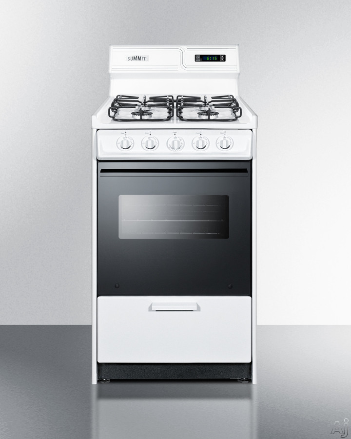 Summit WTM1307DKS 20 Inch Freestanding Gas Range with Sealed Burners, Broiler Drawer, Broiler Pan Included, Recessed Oven Door, Electronic Ignition, Removable Burner Caps, Oven Light, Deluxe Backguard