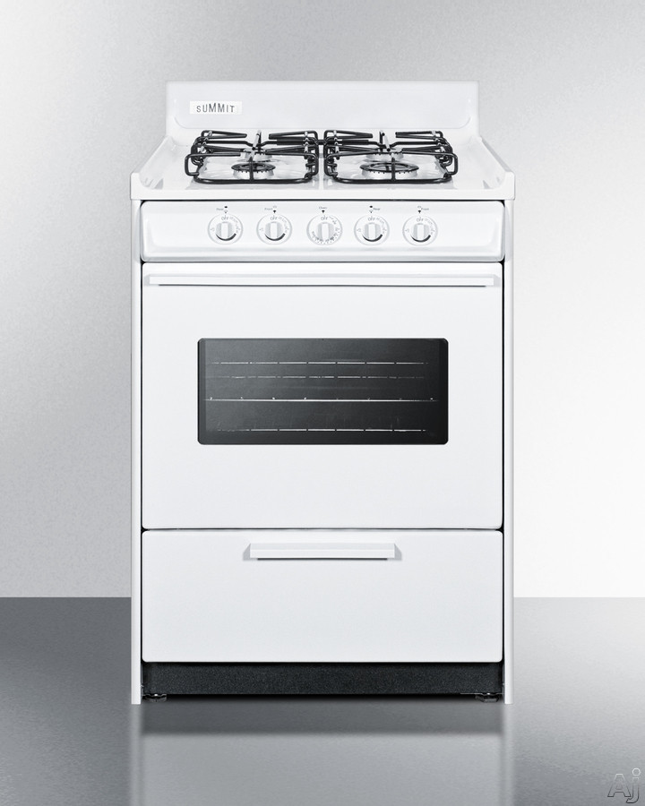 Summit WTM6107SW 24 Inch Gas Range with 2.92 cu. ft. Capacity, 4 Sealed Burners, 12,000 BTU High Output Burner, Removable Porcelain Oven Top and Push-to-Turn Knobs