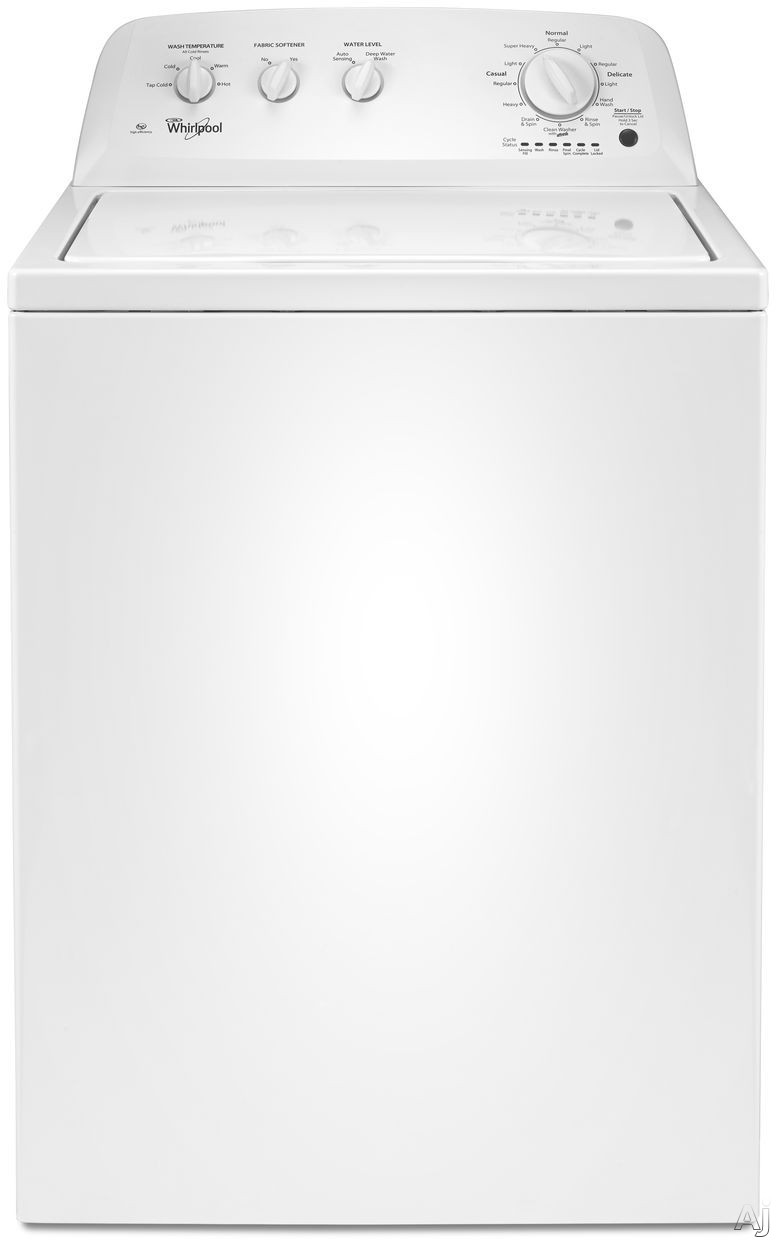 Whirlpool WTW4616FW 27 Inch Top Load Washer with Add-a-Garment, Cold Wash, Dual Action Agitator, 3.5 cu. ft. Capacity, White Porcelain Tub, Water Level Selection and Cycle Feedback-Status Indicator Lights WTW4616FW