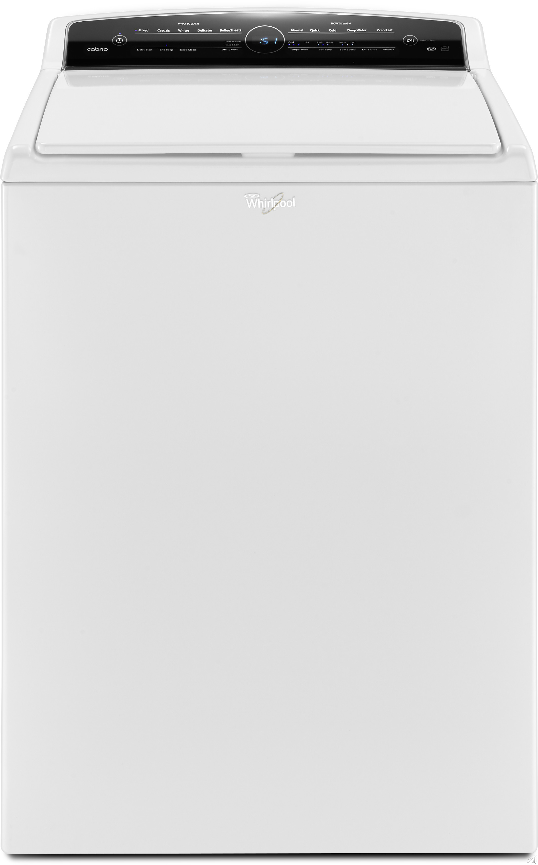 Image of Whirlpool Cabrio WTW7000DW 28 Inch 4.8 cu. ft. Top Load Washer with 12 Wash Cycles, 850 RPM, Quick Wash, Presoak, ColorLast, Adaptive Wash Technology w/ Active Bloom Wash Action, Low Profile Impeller, Stainless Steel Wash Basket, Clean Washer Cycle with A
