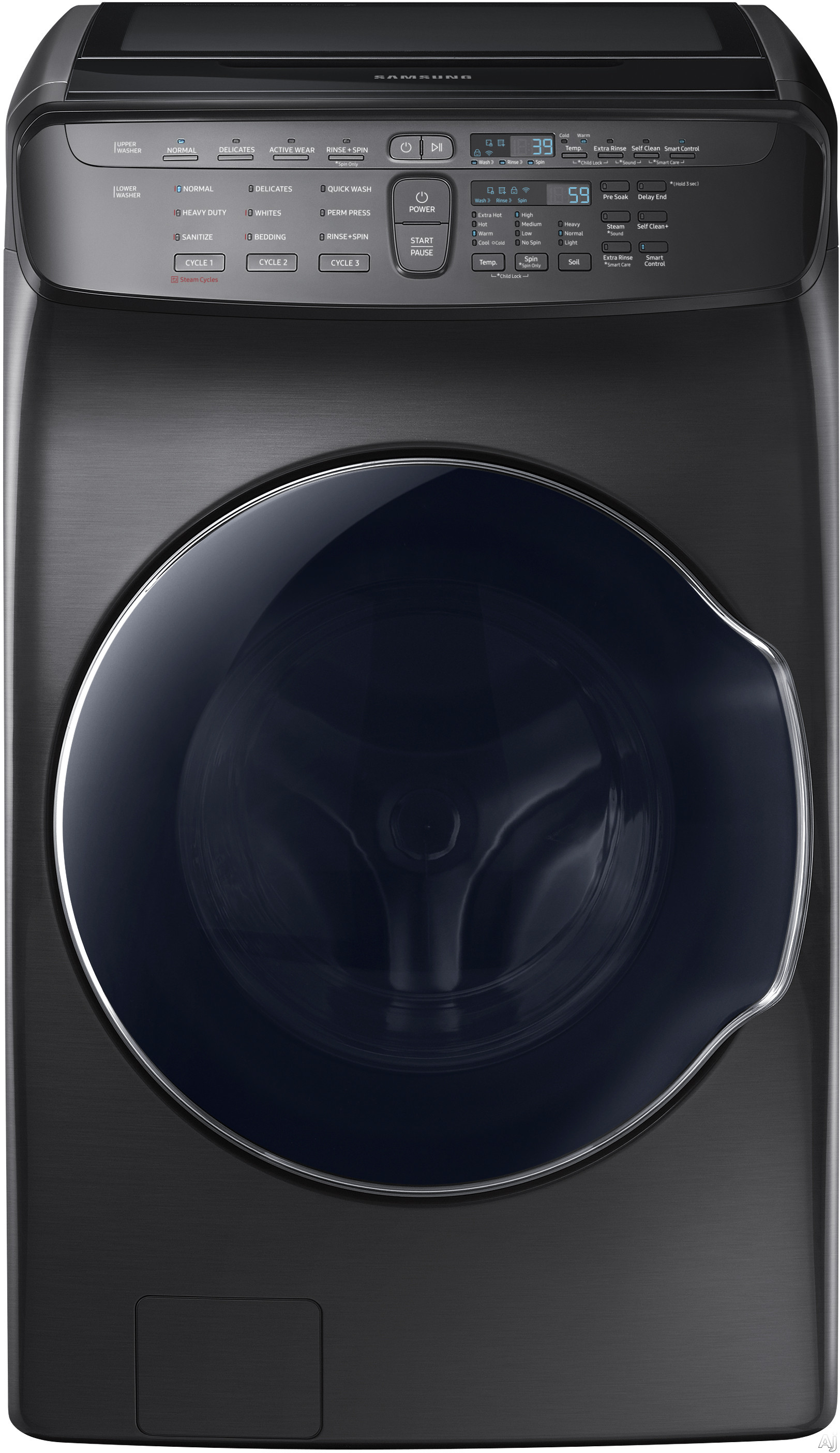 "Samsung FlexWash WV55M9600AV 27 Inch FlexWashâ""¢ Washer with Steam, Wi-Fi Connectivity, Smart Care, 11 Wash Cycles, Self-Clean+ Option, Sanitize Cycle, 3-Tray Dispenser, Vibration Reduction Plusâ""¢ Technology and 5.5 cu. ft. Capacity: Black Stainless Ste"