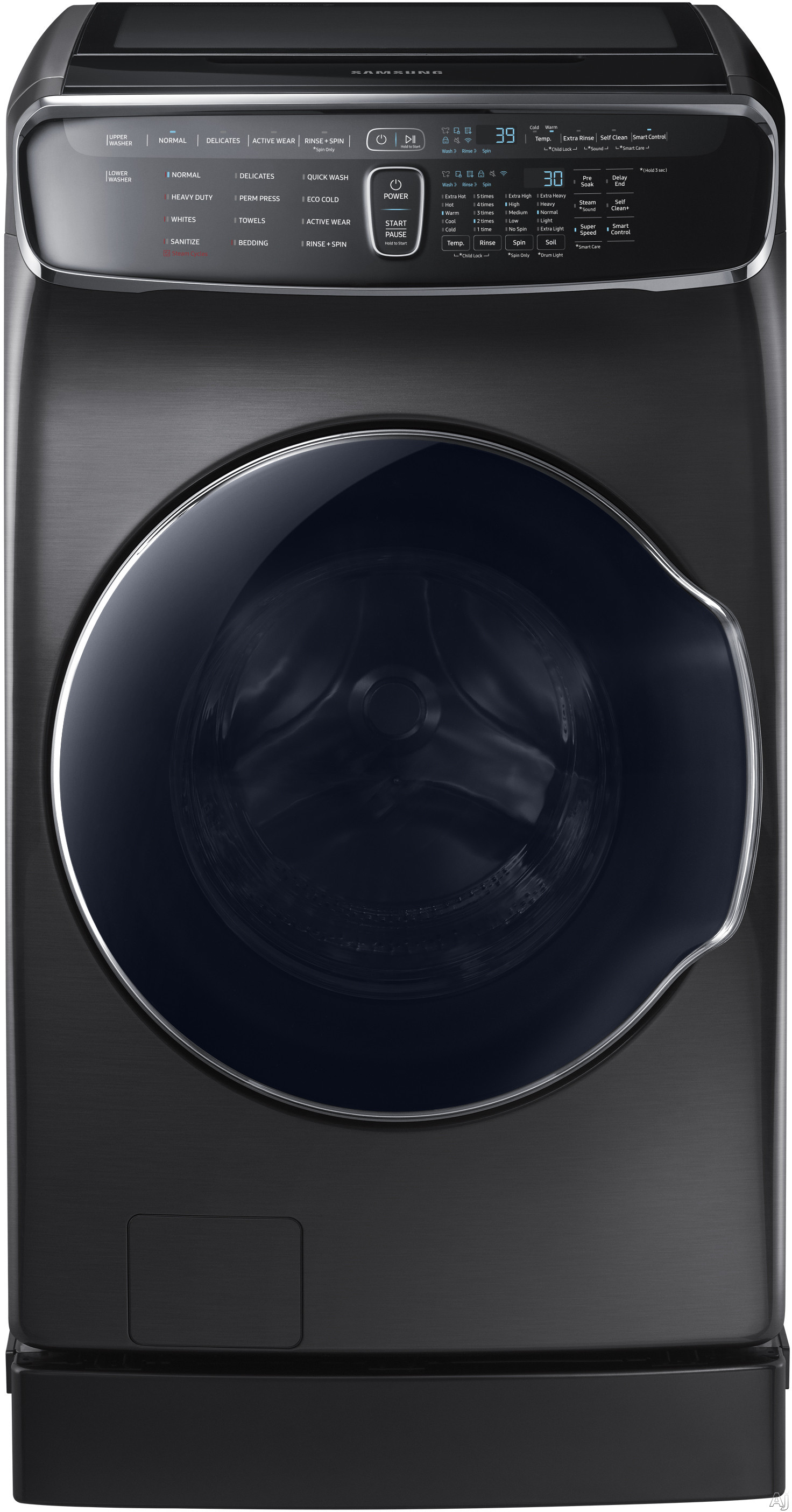 "Samsung WV60M9900A 27 Inch FlexWashâ""¢ Washer with Steam, Super Speed, Wi-Fi Connectivity, Smart Care, 13 Wash Cycles, Self Clean+, PowerFoamâ""¢, Sanitize Cycle, 3-Tray Dispenser, Vibration Reduction Plusâ""¢ and 6.0 cu. ft. Capacity"