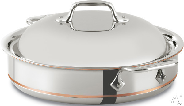 All Clad 640318SS 3-Quart Copper Core Sauteuse with 5-Ply Stainless Steel, Polished Surface, Stainless Steel Handles, Induction Suitable, Oven Safe, Dishwasher Safe, Limited Lifetime Warranty and Made