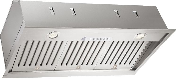 Image of XO XOI4515KS Cabinet Insert Range Hood with 1000 CFM Internal Blower, 3 Speed Control, Halogen Lights, Professional Baffle Filters and Stainless Steel Construction: 46 Inch Width