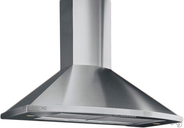 XO XOS Wall Mount Designer Chimney Range Hood with 600 CFM Internal Blower, 3 Speed Control, Halogen Lights, Push Button Controls and Convertible to Recirculating