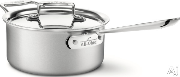 All Clad BD55203 3-Quart d5 Brushed Stainless Steel Sauce Pan with 5-Ply Stainless Steel, Polished Surface, Stainless Steel Handles, Induction Suitable, Oven Safe, Dishwasher Safe, Limited Lifetime Wa