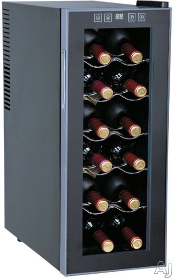 Sunpentown WC1271 10 Inch Freestanding Wine Cooler with 12-Bottle Capacity, 5 Slide-Out Chrome Shelves, ThermoElectric Technology, No Compressor/Vibration, LED Display and Touch Sensitive Control Panel