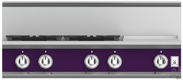 """Hestan KRT364GDLPPP 36 Inch Rangetop with 4 Sealed Burners, 12 Inch Griddle, Cast-Iron Continuous Grates, Backlit Control Knobs and Marquiseâ""""¢ Control Panel: Natural Gas / Lush"""