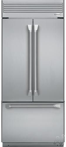 Image of Monogram ZIPP360NHSS 36 Inch Built-In French Door Refrigerator with Ice Maker, LED Lighting, Digital Controls, Full Width Deli Drawer, Glass-Front Drawers, Aluminum Trimmed Shelves, Metal Door Bins and 20.6 cu. ft. Capacity: Professional Stainless Steel