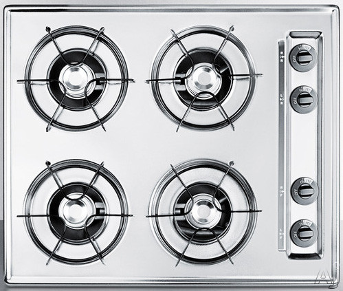 Image of Summit ZNL033X 24 Inch Gas Cooktop with 4 Open Burners, 9,000 BTU Burners, Porcelain Enameled Steel Grates, Recessed Top and Electronic Ignition