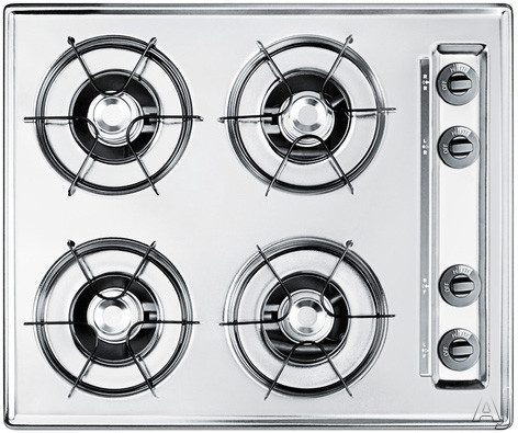 Image of Summit ZNL03PX 24 Inch Gas Cooktop with 4 Open Burners, 9,000 BTU Burners, Porcelain Enameled Steel Grates, Recessed Top and Battery Start Ignition