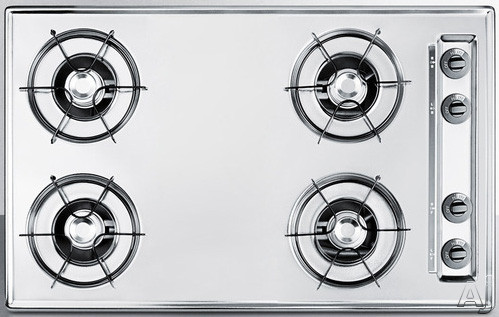 Image of Summit ZNL053 30 Inch Gas Cooktop with 4 Open Burners, 9,000 BTU Burners, Porcelain Enameled Steel Grates, Recessed Top, Scratch Resistant Surface and Electronic Ignition: Chrome