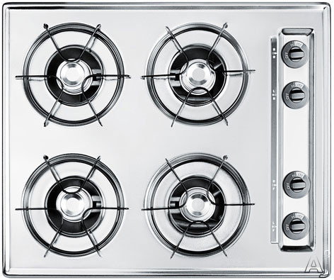 Summit TL03P 24 Inch Gas Cooktop with 4 Open Burners, Porcelain Enameled Steel Grates, Recessed Top, Battery Start Ignition and LP Convertible