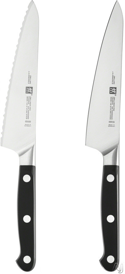 Zwilling J.A. Henckels 38430014 Pro 2-Piece Prep Knife Set with Curved Bolsters, High-Carbon Stainless Steel, Ice-Hardened Blades, POM Handles, 5-1/2