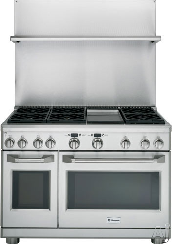 Picture of Monogram ZXADJB48PSS 30 Inch - 36 Inch Adjustable-Height Stainless Steel Backsplash with Warming Shelf
