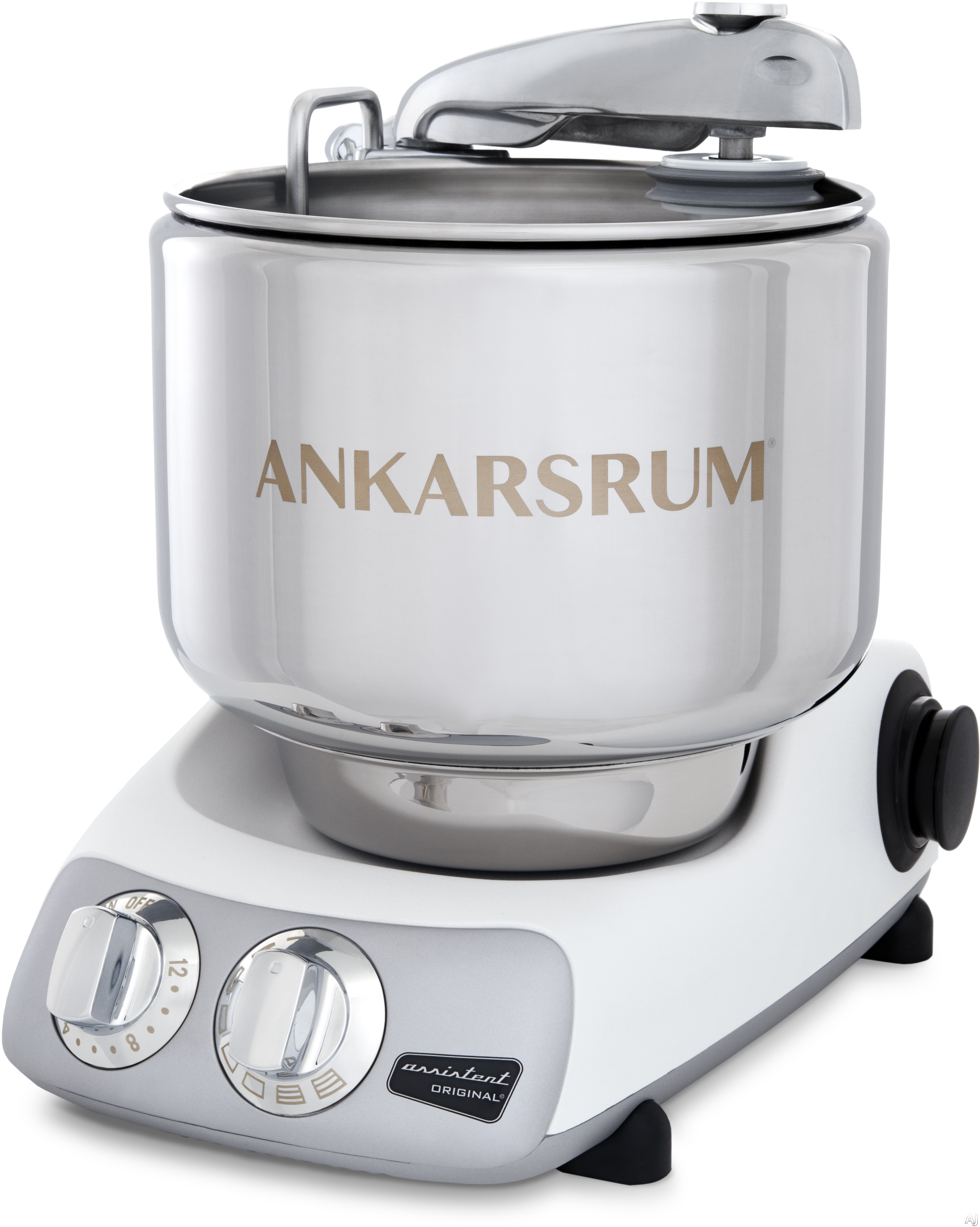 Ankarsrum AKM6230MW 7 Liter Stainless Steel Mixer with Speed Sensor, Cookie Beaters, Dough Roller, Dough Scraper, Dough Spatula Dough Hook Dust Cover, Removable Power Cord, Instructional DVD, 3.6 qt. Double Whisk Bowl, 600 Watt Motor and Timer: Mineral Wh