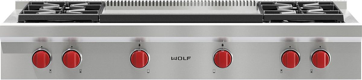wolf srtdg   pro style gas rangetop   dual stacked sealed burners simmermelt