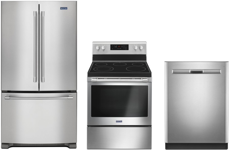 Maytag Mareradw1 3 Piece Kitchen Appliances Package With French Door Refrigerator Electric Range And Dishwasher In Stainless Steel