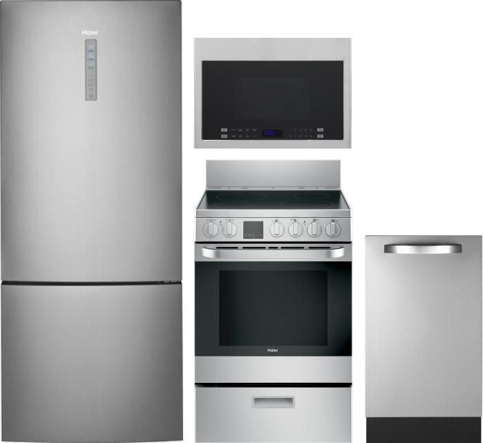 Haier Hareradwmw16 4 Piece Kitchen Appliances Package With
