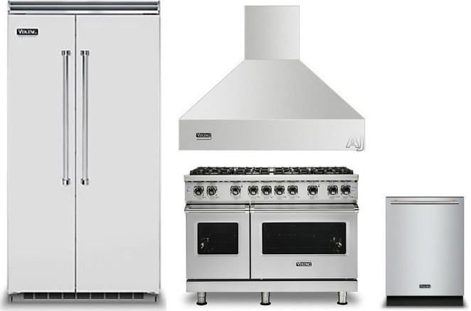 Image of Viking 5 4 Piece Kitchen Appliances Package with Side-by-Side Refrigerator, Gas Range and Dishwasher in Stainless Steel Stainless Steel VIRERADWRH998
