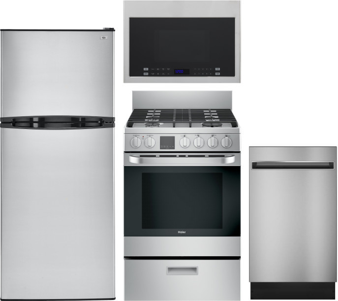 Image of Haier 4 Piece Kitchen Appliances Package with Top Freezer Refrigerator, Gas Range, Dishwasher and Over the Range Microwave in Stainless Steel Stainles