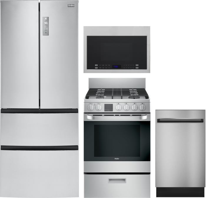 Image of Haier 4 Piece Kitchen Appliances Package with French Door Refrigerator, Gas Range, Dishwasher and Over the Range Microwave in Stainless Steel Stainles