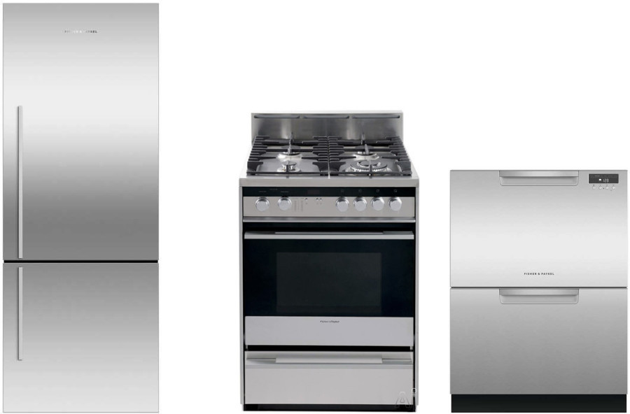 Image of Fisher & Paykel Active Smart 3 Piece Kitchen Appliances Package with Bottom Freezer Refrigerator, Gas Range and Dishwasher in Stainless Steel Stainles